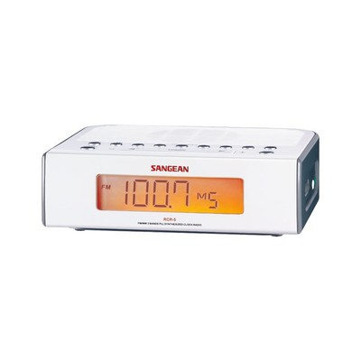 Sangean AM/FM Bedside Clock Radio - Silver