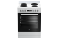 Beko 60cm White Solid Hotplate Upright Cooker