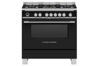 Fisher & Paykel 90cm Freestanding Dual Fuel Cooker Black