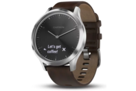 Garmin vivomove HR Silver Stainless Steel Case with Dark Brown Leather Band