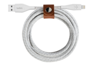 Belkin 10.0 FEET DuraTek Plus Lightning to USB-A Cable with Strap (White)