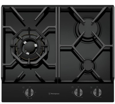 Westinghouse 60cm 3 burner black tempered glass gas cooktop