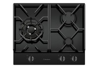 Westinghouse 60cm 3 burner black tempered glass gas cooktop