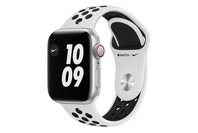 Apple Watch Nike SE GPS + Cellular, 40mm Silver Aluminium Case with Pure Platinum/Black Nike Sport Band - Regular