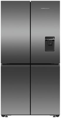 Fisher & Paykel 605L Recessed Handle Quad Door Fridge with Ice & Water Dispenser - Black