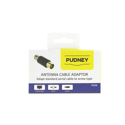 Pudney P3506 Coaxial Plug to F Socket Adapter