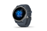 Garmin Venu 2 Silver Stainless Steel Bezel with Granite Blue Case and Silicone Band